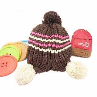 【iSFun】簡約條紋*毛線球球護耳帽-三色