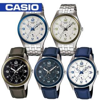 【CASIO 卡西歐】時尚金屬光錶圈不鏽鋼男錶(MTP-1352D / MTP-1352L)