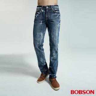 【BOBSON】男款雪花直筒牛仔褲(藍53)