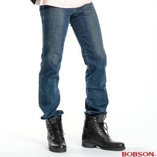 【BOBSON】男款保暖紗直筒褲(藍53)