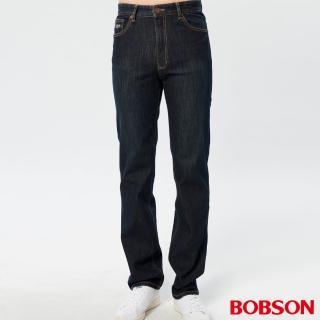 【BOBSON】男款熱感IN保暖直筒牛仔褲(藍52)
