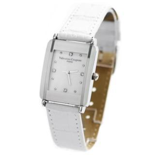 【Valentino范倫鐵諾】素面簡約方形水鑽刻度腕錶 真皮錶帶原廠正品(玖飾時尚NE498)