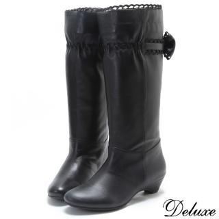 【☆Deluxe☆】帥氣甜心-小羊皮鉤針編織蝴蝶結低跟長靴(黑)
