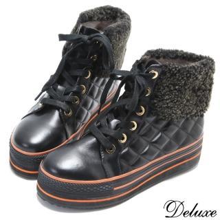 【☆Deluxe☆】菱格紋車線綁帶保暖毛呢高筒厚底休閒鞋(黑)