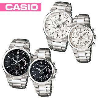 【CASIO 卡西歐 EDIFICE/SHEEN】直條紋都會甜蜜情侶對錶(EFR-500D+SHE-5019D)