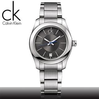 【瑞士 CK手錶 Calvin Klein】藍色秒針簡約女錶_黑面(K0K23107)