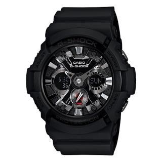 【CASIO 卡西歐 G-SHOCK 系列】金屬機械錶面設計雙顯錶(GA-201)