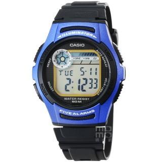 【CASIO】日系卡西歐鬧鈴多時區電子錶-黑藍(W-213-2A)