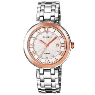 【CASIO】SHEEN系列 浪漫璀璨日期晶鑽腕錶(鋼帶-銀玫瑰金 SHE-4033SG-7AUDR)