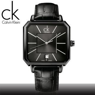 【瑞士 CK手錶 Calvin Klein】全黑狂潮_時尚方形皮革男錶(K1U21402)