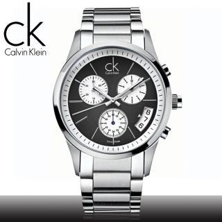 【瑞士 CK手錶 Calvin Klein】黑爵彎月三眼計時男錶(K2247107)