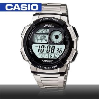 【CASIO 卡西歐】日系模擬飛機儀表板環球數位電子錶(AE-1000WD)