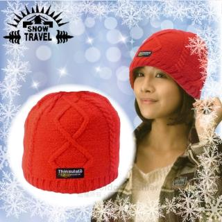 【SNOW TRAVEL】3M Thinsulate高級素面麻花保暖羊毛帽.毛線帽/適零下20度(紅)