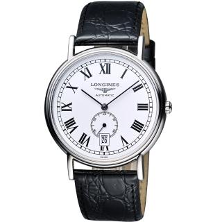 【LONGINES】Presence 經典小秒針機械腕錶-白/黑/38.5mm(L48054112)