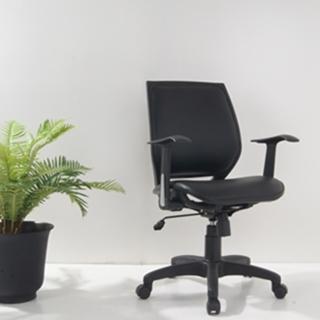 時尚透氣皮面座墊電腦椅(黑色)