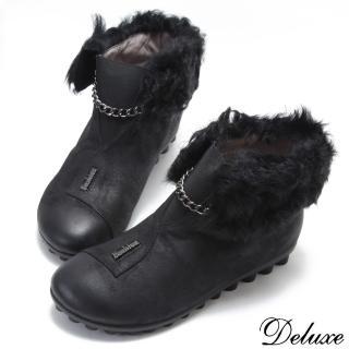 【☆Deluxe☆】微甜俏皮邱比特反折羔羊毛仿舊皮革短筒精靈靴(黑)