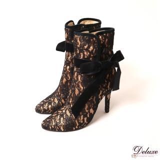 【☆Deluxe☆】低調華麗-細緻蕾絲細絨綁帶開扣高跟短靴(黑)