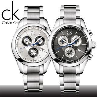 【瑞士 CK手錶 Calvin Klein】三眼計時不鏽鋼女錶(K0K28107-K0K28120)