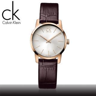 【瑞士 CK手錶 Calvin Klein】玫瑰金_棕色弧形切面女錶(K2G23620)