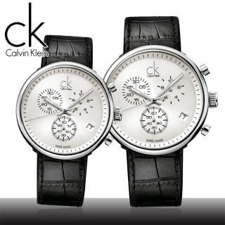 【瑞士 CK手錶 Calvin Klein】情侶對錶-三眼腕錶(K2N271C6+K2N281C6)