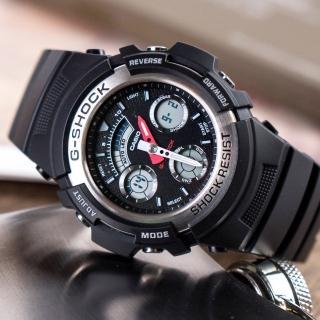 【CASIO 卡西歐】G-SHOCK 衝鋒戰士運動概念錶(黑x銀-AW-590-1ADR)