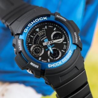 【CASIO 卡西歐】G-SHOCK 衝鋒戰士運動概念錶(黑x藍-AW-591-2ADR)