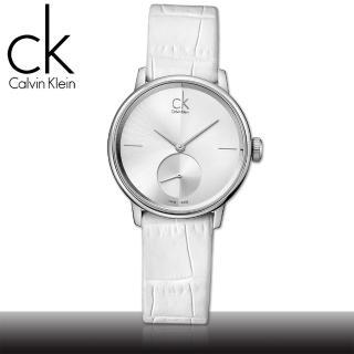 【瑞士 CK手錶 Calvin Klein】獨立秒針白面紋路皮革女錶(K2Y231K6 小)