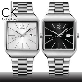 【瑞士 CK手錶 Calvin Klein】流行時尚方型紳士錶-大(K3L31161/K3L31166)