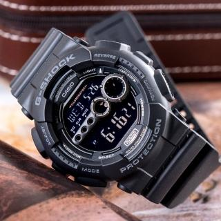 【CASIO 卡西歐】G-SHOCK 強悍亮眼運動休閒錶(黑-GD-100-1BDR)