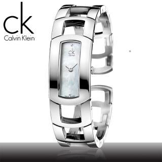 【瑞士 CK手錶 Calvin Klein】珍珠母貝白面高雅時尚手鐲型女錶(K3Y2S11T)