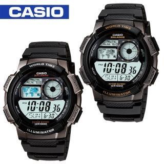 【CASIO 卡西歐】模擬飛機儀表板環球數位電子錶(AE-1000W)