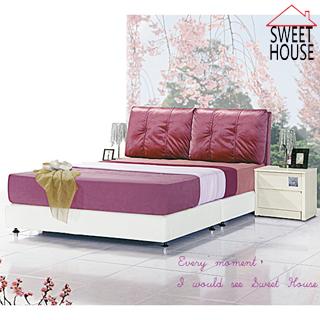 【甜美家】帕里亞絨布皮製雙人床架+床頭櫃(雙人床架+床頭櫃一併配送)