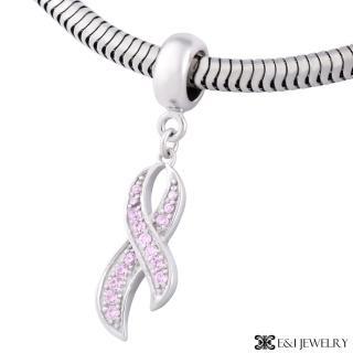 【E&I】CHARMIN 時尚創意手鍊 粉紅緞帶925純銀水鑽造型吊墬