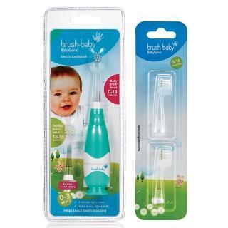 【英國brush baby】嬰幼兒聲波電動牙刷(特惠補充組/0-18補充刷頭)