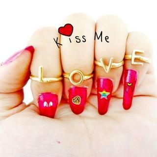 【Lady c.c.】LOVE愛戀多樣變化造型戒指(4個1組)