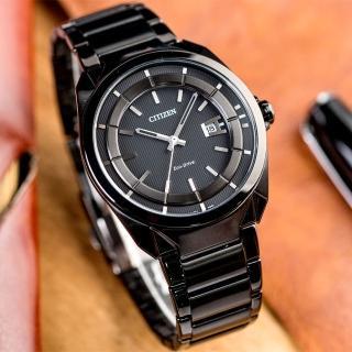 【CITIZEN 星辰】Eco-Drive 光動能成熟魅力時尚腕錶(IP黑-AW1015-53E)
