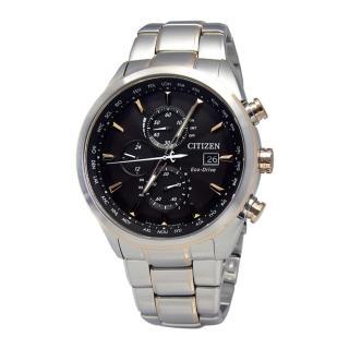 【CITIZEN】電波時計‧搏命關頭Eco-Drive三環計時腕錶_深灰金刻(AT8016-51E)