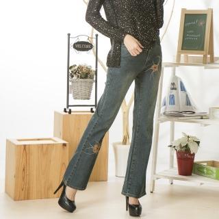 【RH】原色顯瘦修身繡花喇叭長褲(S-5L加大全尺碼年節促銷)