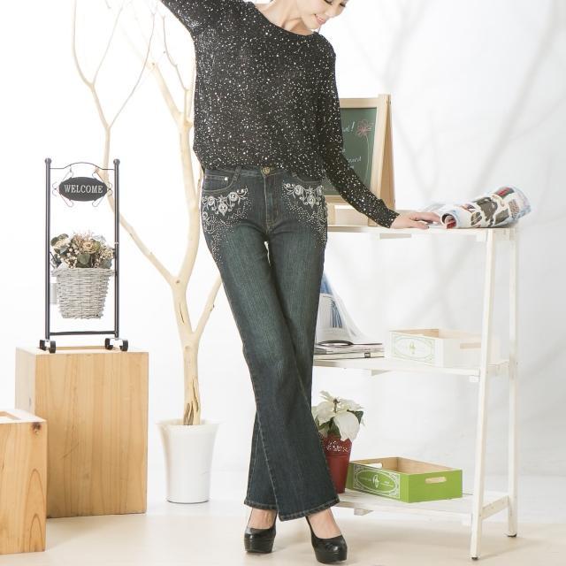【RH】立體繡珠造型小喇叭牛仔長褲(修身深籃綠)