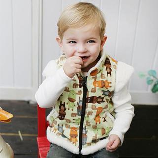 【Kinderspel】時尚寶貝 正韓刷毛小背心(乖乖綠麋鹿)