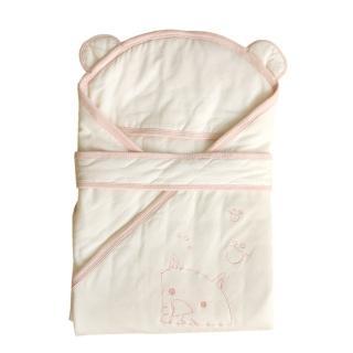 【azure canvas藍天畫布】100%有機棉嬰兒鋪棉包巾-輕薄保暖(粉紅滾邊)