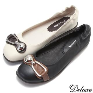 【☆Deluxe☆】復古俏皮-全真皮金屬飾扣平底娃娃鞋(★米/黑)