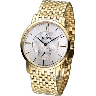 【TITONI 梅花錶】Slenderline 優雅情人時尚紳士錶(TQ52917G-380)