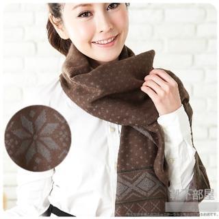 【靴下部屋】北歐雪花˙加長版披肩圍巾(咖啡)
