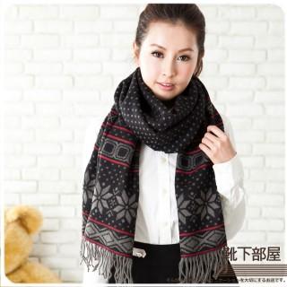 【靴下部屋】北歐雪花˙加長版披肩圍巾(優黑)