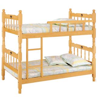 【時帖峞j成號3.5尺白木方柱單欄雙層床(不含床墊105-2)