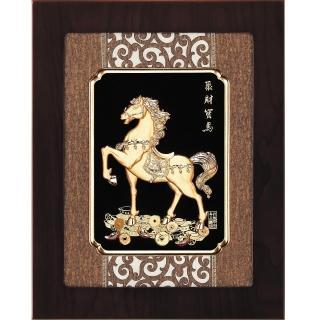 【開運陶源】金箔畫 純金 聚財寶馬(馬到成功... 27 x34  cm)