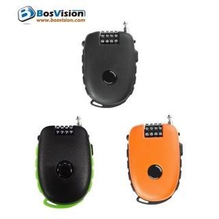 【Bosvision】TL981/多功用4字輪伸縮式鋼索密碼鎖(90公分鋼索)
