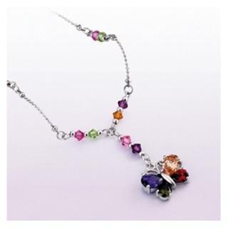 璀璨蝴蝶彩色晶鑽項鍊
