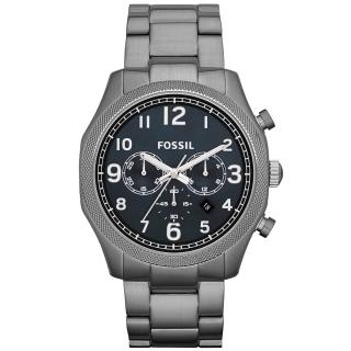 【FOSSIL】鋼鐵力士三眼計時碼錶-鐵灰(FS4863)